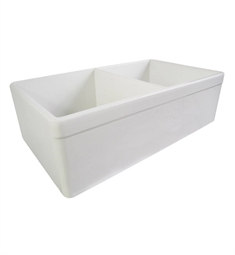 Alfi AB539-W Decorative Lip Double Bowl Fireclay Farmhouse Kitchen Sink in White
