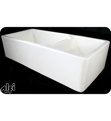 Alfi AB4019-W Double Bowl Thick Fireclay Farmhouse Kitchen Sink with Smooth Apron in White