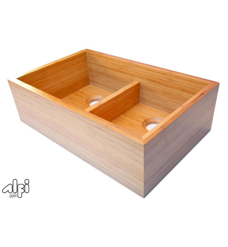 Farmhouse Sink Brands : ALFI Brand AB3321 Double Bowl Bamboo Kitchen Farm Sink