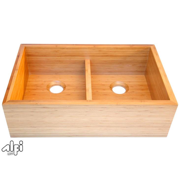 AB3321 Alfi AB3321 Double Bowl Bamboo Kitchen Farm Sink