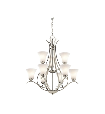 Kichler 43506NI Keiran 9 Light 2 Tier Chandelier With Finish: Brushed Nickel