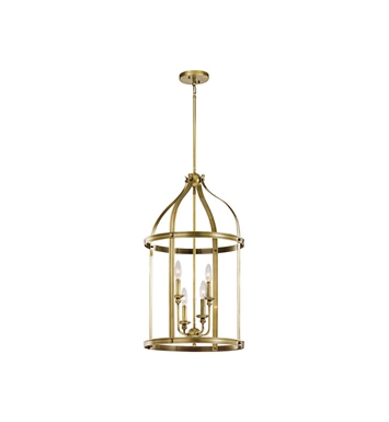 Kichler 43107NBR Steeplechase 4 Light Pendant in Natural Brass