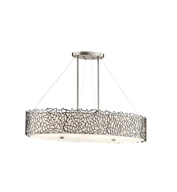 Kichler 43348CLP Silver Coral 4 Light Oval Chandelier-Pendant in Classic Pewter