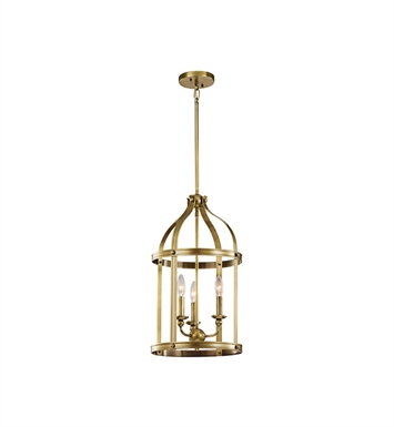 Kichler 43106NBR Steeplechase 3 Light Pendant in Natural Brass
