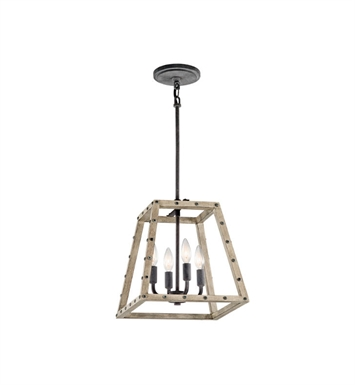 Kichler 43519DAG Basford 4 Light Pendant in Distressed Antique Gray