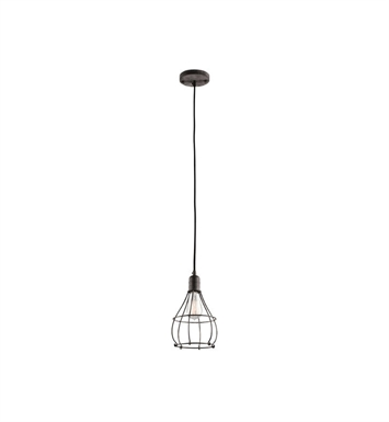 Kichler 43602WZC Industrial Cage 1 Light Mini Pendant in Weathered Zinc