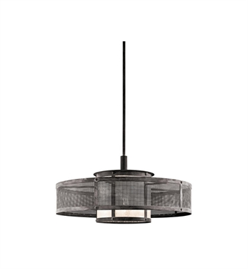 Kichler 43575WZC Argesto 1 Light Pendant in Weathered Zinc