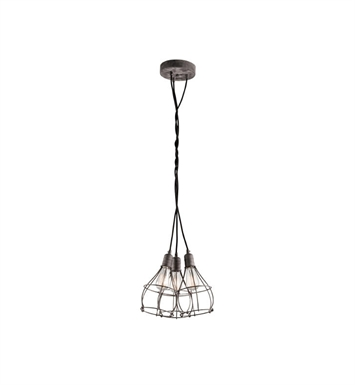 Kichler 43600WZC Industrial Cage 3 Light Pendant in Weathered Zinc