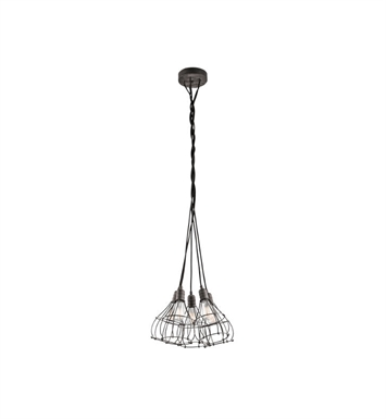 Kichler 43601WZC Industrial Cage 5 Light Pendant in Weathered Zinc
