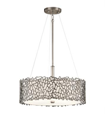 Kichler 43346CLP Silver Coral 3 Light Incandescent Semi-Flush Pendant in Classic Pewter