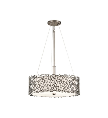Kichler 43346CLP Silver Coral 3 Light Pendant/Semi-Flush in Classic Pewter