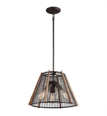 Kichler 43352RT Calleis 3 Light Incandescent Semi-Flush Pendant in Rust