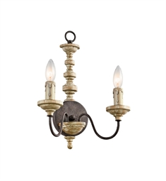 Kichler Briellis 2 Light Wall Sconce in Vintage Weathered White with Rust Accents
