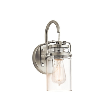 Kichler 45576NI Brinley 1 light Wall Sconce in Brushed Nickel
