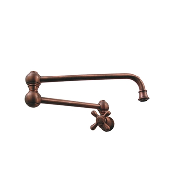 Whitehaus WHKPFCR3-9500-AB Vintage III Wall Mount Pot Filler with Cross Handle With Finish: Antique Brass