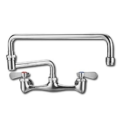 Whitehaus WHFS813-C Wall Mount Utility Faucet with Double Jointed Retractable Swing Spout and Lever Handles