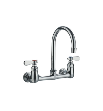 Whitehaus WHFS9814-P4-C Wall Mount Utility Faucet with Gooseneck Swivel Spout and Lever Handles