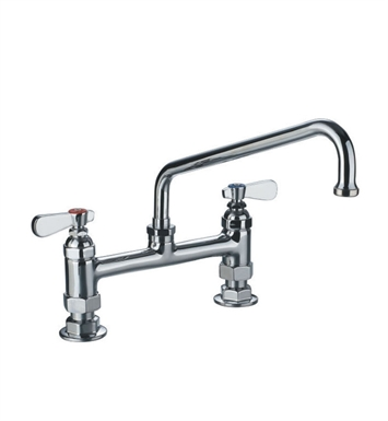 Whitehaus WHFS9813-12-C Heavy Duty Utility Bridge Faucet with Extended Swivel Spout and Lever Handles