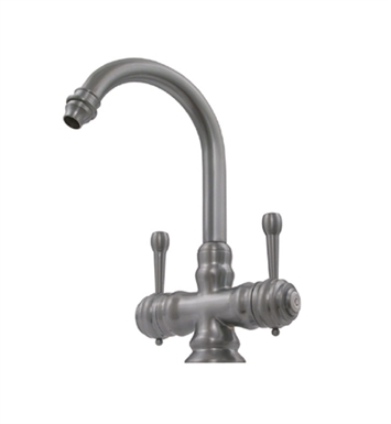 Whitehaus WH20106-SP Evolution Colonial Style Prep Faucet with Gooseneck Swivel Spout and Lever Handles With Finish: Silver Pearl