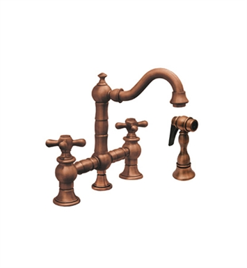 Whitehaus WHKBTCR3-9206-AB Vintage III Prep Bridge Faucet with Short Traditional Swivel Spout With Finish: Antique Brass