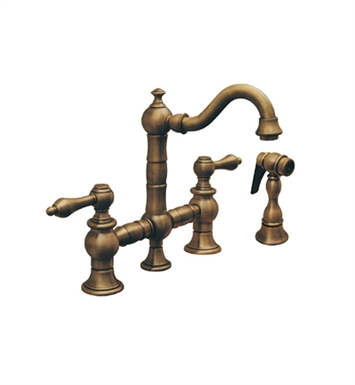 Whitehaus WHKBTLV3-9206-BN Vintage III Prep Bridge Faucet with Short Traditional Swivel Spout With Finish: Brushed Nickel