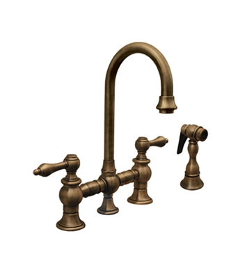 Whitehaus WHKBLV3-9106-ACO Vintage III Prep Bridge Faucet with Short Gooseneck Swivel Spout With Finish: Antique Copper