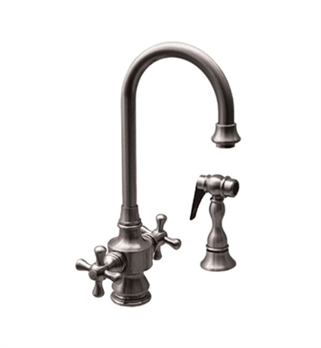 Whitehaus WHKSDCR3-8104-ORB Vintage III Prep Faucet with Short Gooseneck Swivel Spout With Finish: Oil Rubbed Bronze
