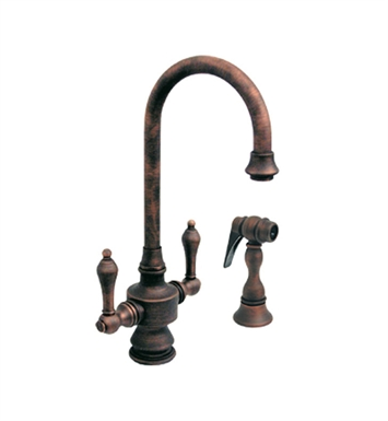 Whitehaus WHKSDLV3-8104-MB Vintage III Prep Faucet with Short Gooseneck Swivel Spout With Finish: Mahogany Bronze