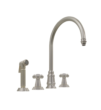 Whitehaus WH13664 Evolution widespread mixer with gooseneck swivel spout, cross style handles and solid brass side spray