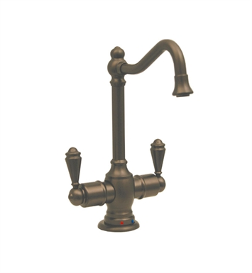 Whitehaus WHFH-HC3131-AB Forever Hot instant hot/cold water dispenser with traditional spout and self closing hot water handle With Finish: Antique Brass