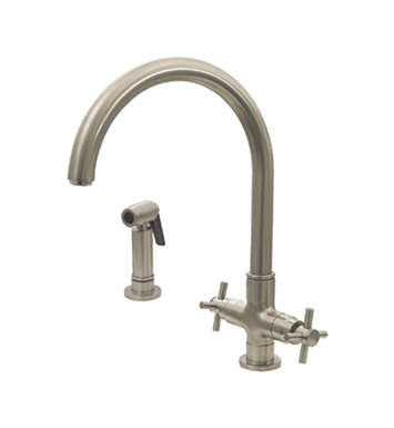 Whitehaus 3-03954CH85-C Luxe+ dual handle faucet with gooseneck swivel spout, cross style handles and solid brass side spray With Finish: Polished Chrome