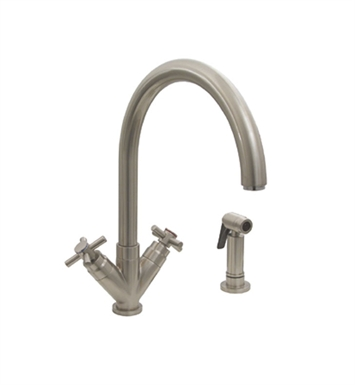 "Whitehaus 3-03942CH85-BN Luxe+ dual handle faucet with gooseneck swivel spout, ""V"" cross style handles and solid brass side spray With Finish: Brushed Nickel"