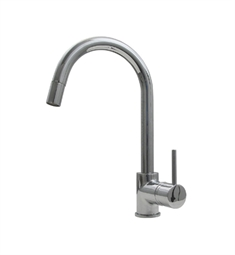 Whitehaus WHLX78591 Metrohaus single hole faucet with gooseneck swivel spout, pull-down spray head and lever handle