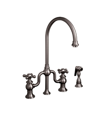 Whitehaus WHTTSCR3-9773SPR-P Twisthaus bridge faucet with long gooseneck swivel spout, cross handles and solid brass side spray With Finish: Pewter