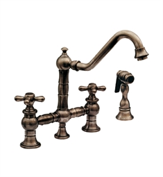 Whitehaus WHKBTCR3-9201 Vintage III bridge faucet with long traditional swivel spout, cross handles and solid brass side spray