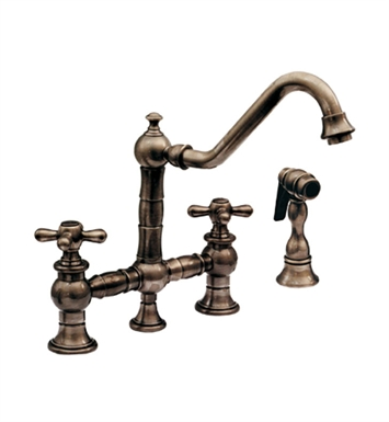 Whitehaus WHKBTCR3-9201-P Vintage III bridge faucet with long traditional swivel spout, cross handles and solid brass side spray With Finish: Pewter