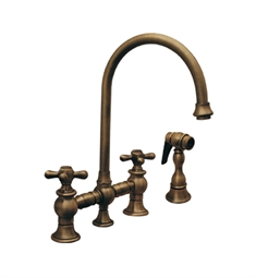 Whitehaus WHKBCR3-9101 Vintage III bridge faucet with long gooseneck swivel spout, cross handles and solid brass side spray