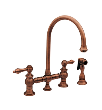 Whitehaus WHKBLV3-9101 Vintage III bridge faucet with long gooseneck swivel spout, lever handles and solid brass side spray