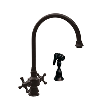 Whitehaus WHKSDCR3-8101-AB Vintage III dual handle faucet with long gooseneck swivel spout, cross handles and solid brass side spray With Finish: Antique Brass