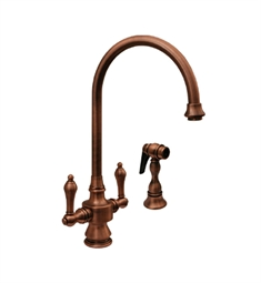 Whitehaus WHKSDLV3-8101 Vintage III dual handle faucet with long gooseneck swivel spout, lever handles and solid brass side spray