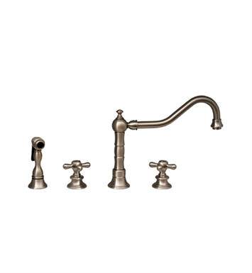 Whitehaus WHKCR3-4400-BN Vintage III widespread faucet with long traditional swivel spout, cross handles and solid brass side spray With Finish: Brushed Nickel