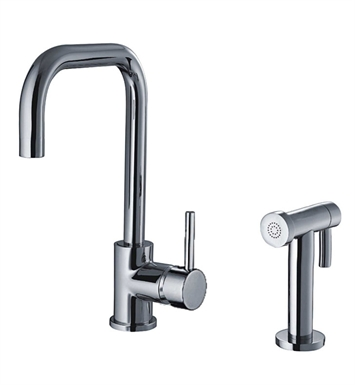 Whitehaus WH2070826 Jem Collection single hole/single lever handle faucet with swivel spout and a solid brass side spray