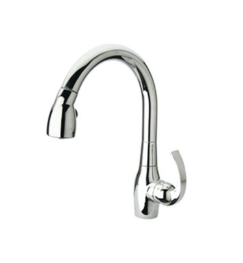 Whitehaus WHUS591M Metrohaus single hole faucet with gooseneck swivel spout and curved lever handle