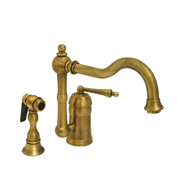 Whitehaus WH-3-3190-ACO Legacyhaus single lever handle faucet with traditional swivel spout and solid brass side spray With Finish: Antique Copper
