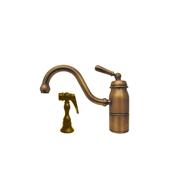 Whitehaus 3-3165-SPR-L-AB Beluga single handle faucet with traditional curved swivel spout, lever handle and solid brass side spray With Finish: Antique Brass