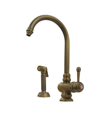 Whitehaus WH17666-ACO Evolution colonial style single lever mixer with gooseneck swivel spout and fluted solid brass side spray With Finish: Antique Copper