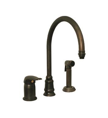 Whitehaus WH18664 Evolution three hole faucet with independent single lever mixer, gooseneck swivel spout, fluted solid brass side spray