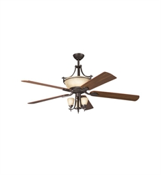 "Kichler 300011OZ Olympia 60"" Indoor Ceiling Fan with 5 Blades with Cool-Touch Remote and Downrods"