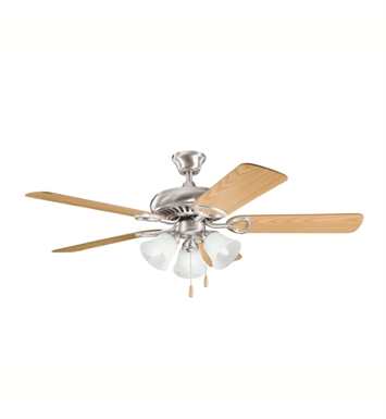 "Kichler 339400BSS Sutter Place Premier 50"" Indoor Ceiling Fan with 5 Blades with Pull Chain and Downrod"
