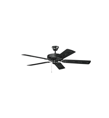 "Kichler 401SBK Basics Revisited 52"" Indoor Ceiling Fan with 5 Blades and Downrod"